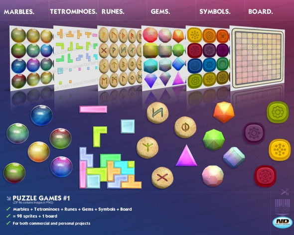 Royalty Free content pack Puzzlegames Volume 1 - royalty free, game art, stock, assets, goodies, placeholder graphics, prototyping, sprites and all sort of stuff by Naaty Design