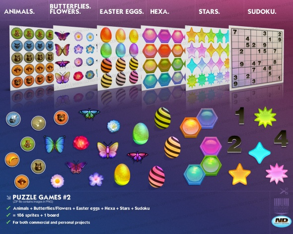Royalty Free content pack Puzzlegames Volume 2 - royalty free, game art, stock, assets, goodies, placeholder graphics, prototyping, sprites and all sort of stuff by Naaty Design